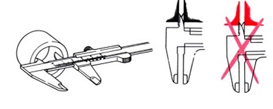 mengukur diameter dalam vernier caliper